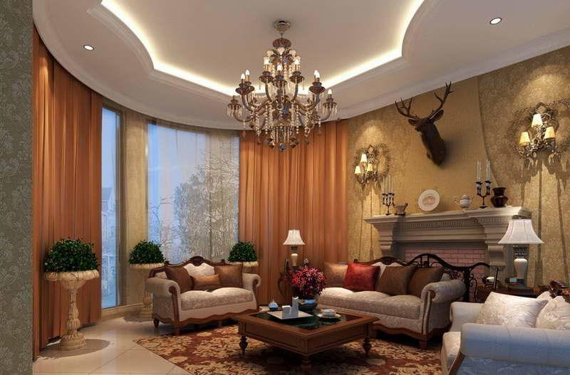 lampu hias ruang tamu klasik eropa desain gambar foto