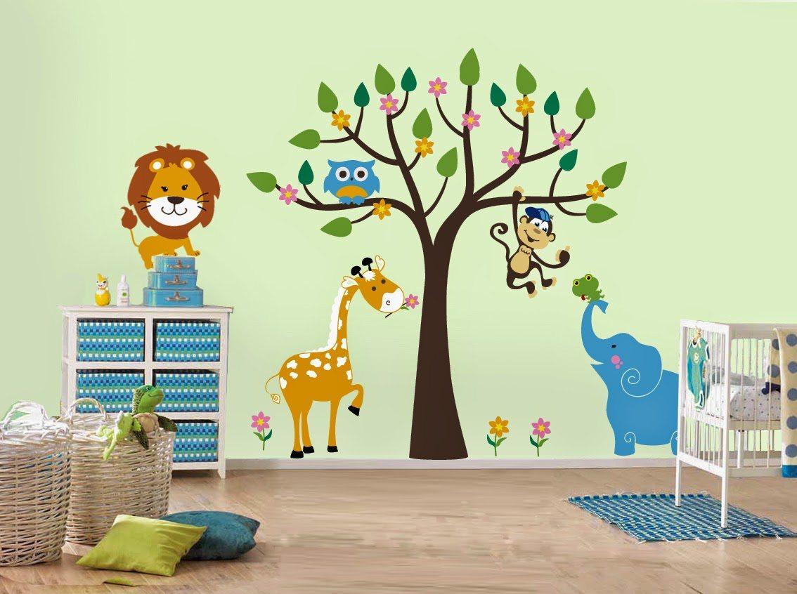Wallpaper Dinding Kamar Anak Tema Flora Fauna Binatang Desain