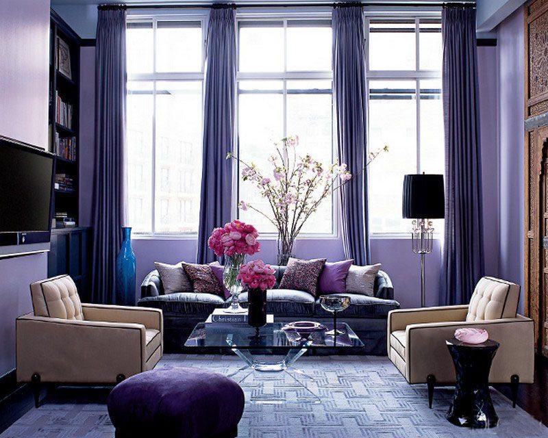 ruang tamu modern mungil ungu cantik desain gambar