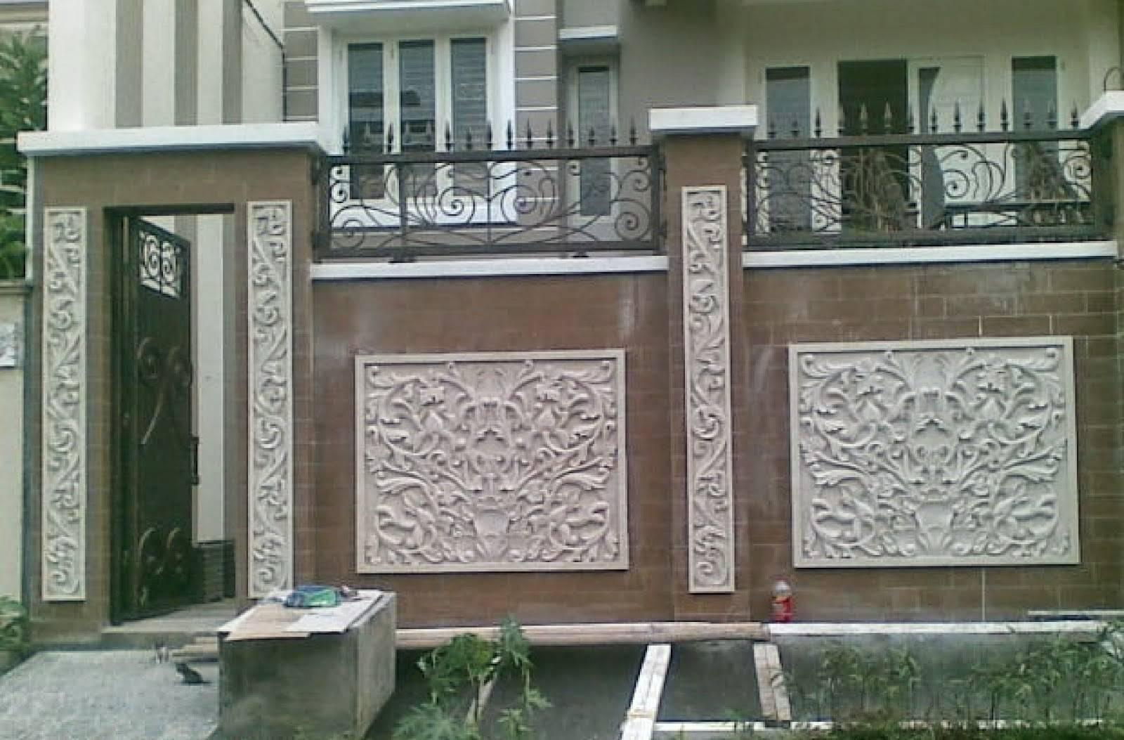model pagar tembok relief mewah desain gambar foto
