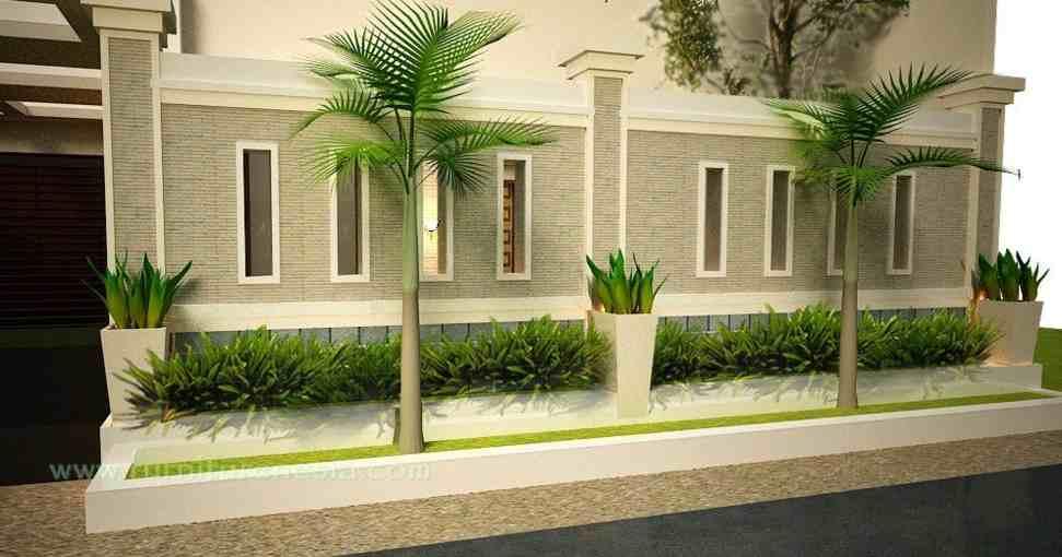 warna cat pagar rumah mewah coklat alam desain gambar