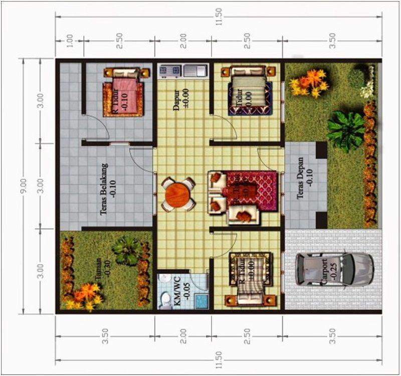 denah rumah 1 lantai 3 kamar