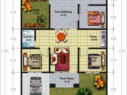 Denah Rumah Minimalis 3 Kamar Ukuran 6x12  denah rumah 3 kamar tidur 1 lantai desain gambar foto