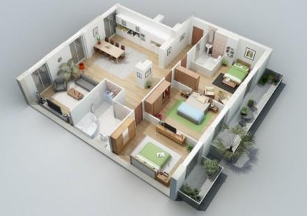 model rumah 3 kamar tidur 1 lantai