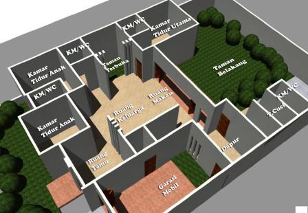 denah rumah 3 kamar tidur 1 lantai   desain, gambar, foto