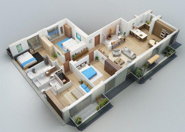 Denah Rumah 3 Kamar Tidur Tipe 70 Desain Gambar Foto Tipe Rumah
