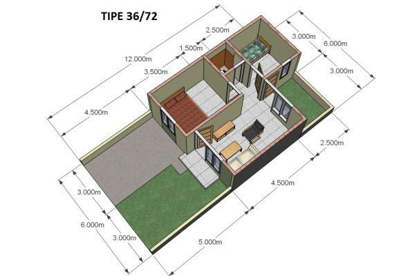 Denah Rumah  Tipe 36 Untuk Perencanaan Desain Gambar