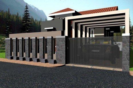 pagar rumah mewah minimalis - desain, gambar, foto tipe