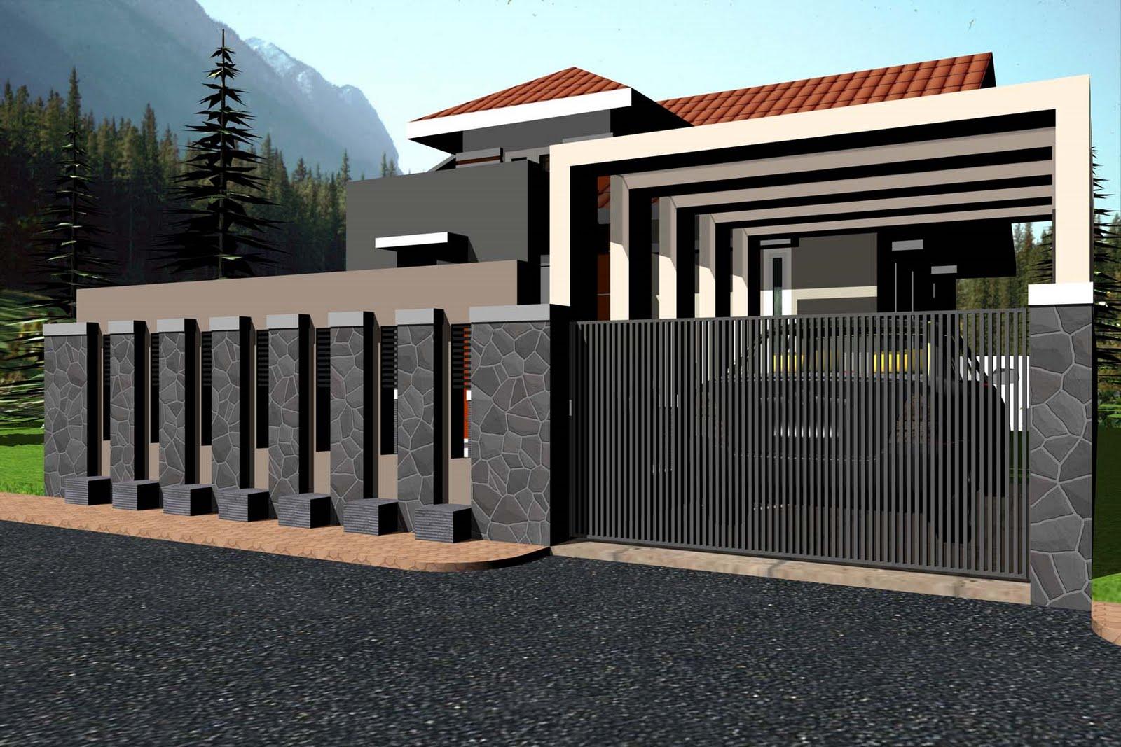Pagar Rumah Mewah Di Lahan Sempit Desain Gambar Foto