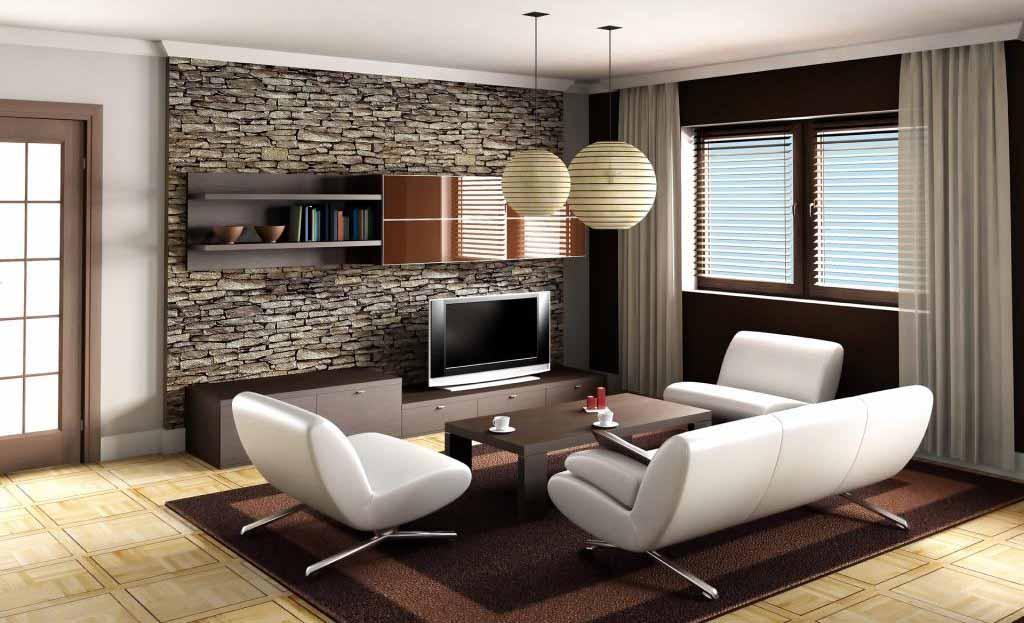 Furnitur Ruang Tamu Minimalis Dinding Batu Alam Desain Gambar