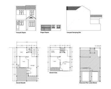 gambar denah rumah renovasi pengembangan type 21 2 lantai