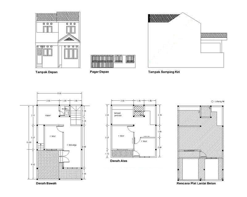 Gambar Denah Rumah Renovasi Pengembangan Type 21 2 Lantai Desain