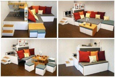 dekorasi kamar kost dengan furniture multifungsi - desain