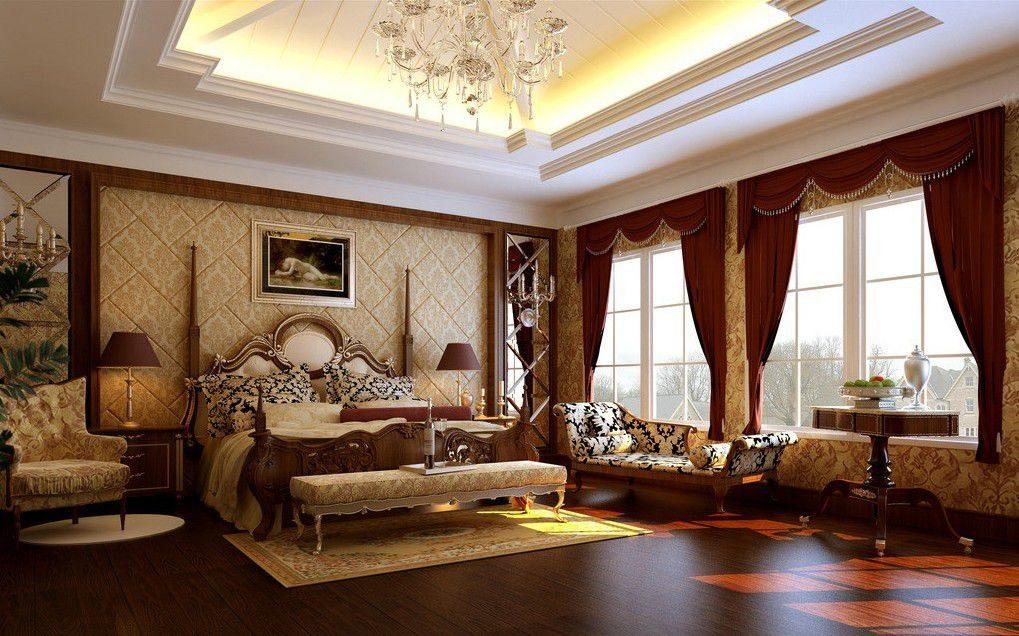 Interior Rumah Mewah Kamar Tidur Klasik Eropa Desain Gambar Foto