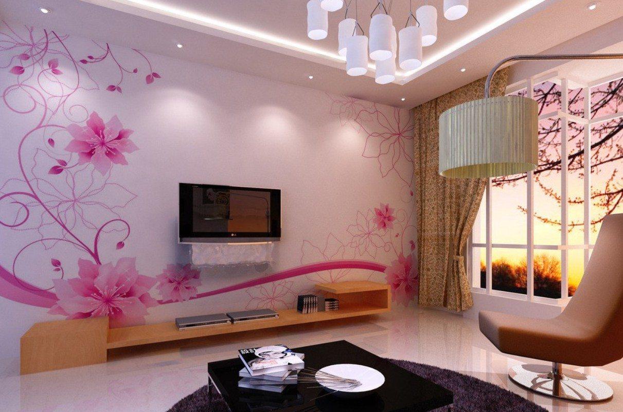 Wallpaper Dinding Ruang Tamu Motif Bunga