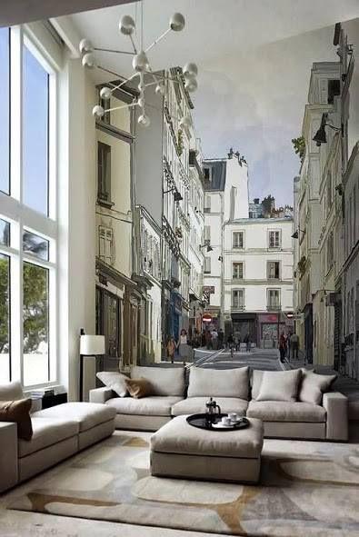 Wallpaper Dinding Ruang Tamu Motif Mural Kota Desain Gambar Foto