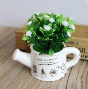 Dekorasi Pot Bentuk Teko Bunga Tanaman Artifisial
