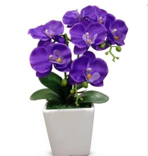 dekorasi pot bunga tanaman artifisial anggrek bulan ungu