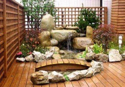 taman rumah minimalis modern jepang kolam - desain, gambar