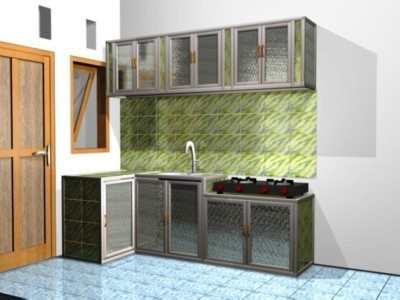 Lemari Dapur Aluminium Sederhana