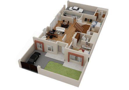 denah rumah sederhana 2 lantai - desain, gambar, foto tipe
