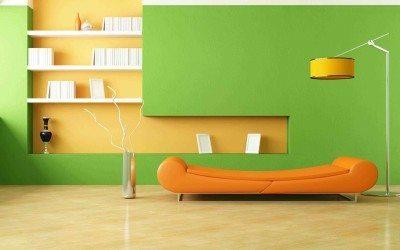 warna cat untuk ruang keluarga modern hijau orange