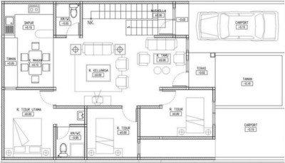 Denah Rumah 1 Lantai 3 Kamar Desain Gambar Foto Tipe Rumah
