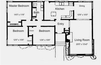 Denah Rumah 1 Lantai 3 Kamar Sederhana