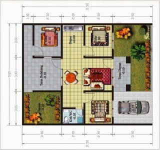 denah rumah 1 lantai 3 kamar | desain, gambar, foto tipe