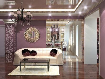 Ruang Keluarga Mewah Dengan Dekorasi Cermin